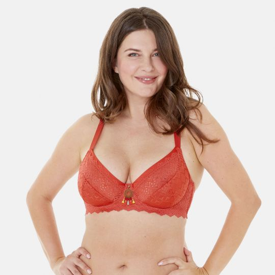 Soutien-gorge grand maintien C, D et E orange Aloha