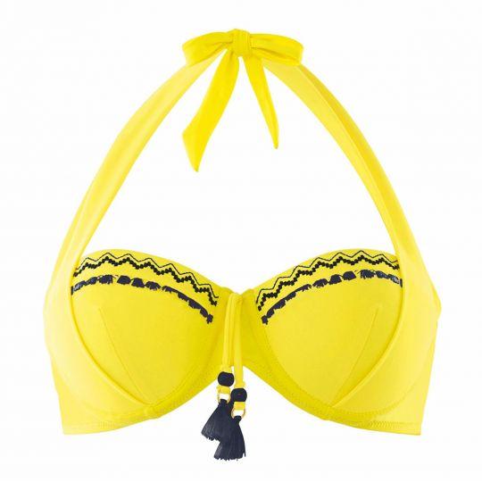 Haut de maillot balconnet jaune/marine Mambo - vue 0