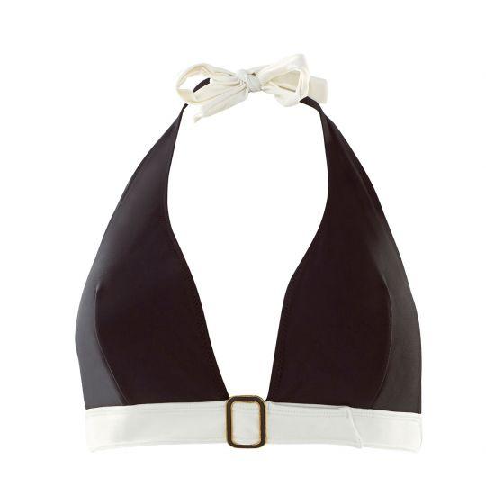 Haut de maillot triangle noir/ivoire Plage - vue 0