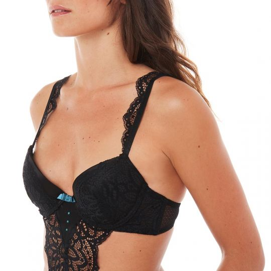 Trikini push-up noir Rivale - vue 3