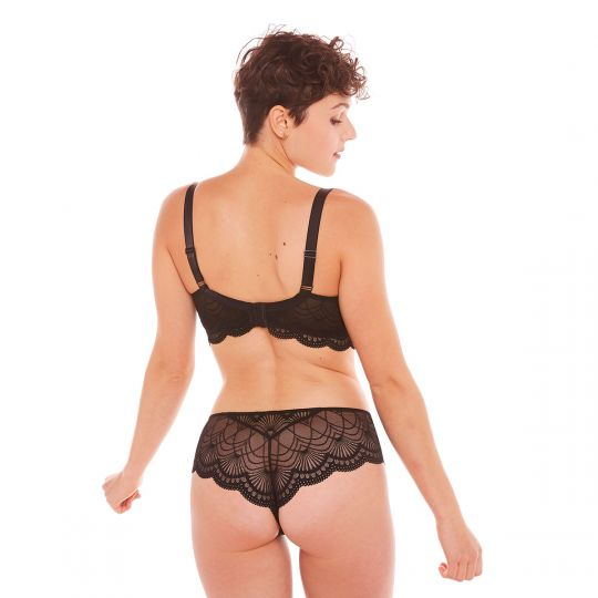 Shorty tanga noir Kiss Kiss - vue 5