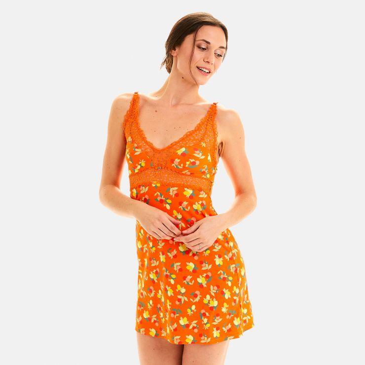 Nuisette imprimé orange Nouméa