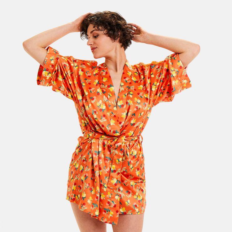 Kimono imprimé orange Nouméa