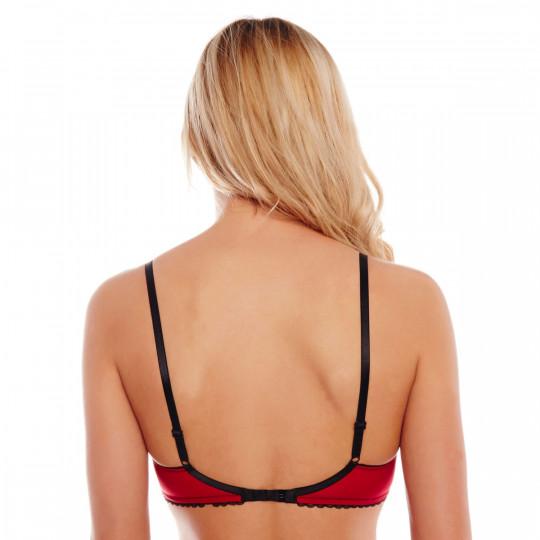 Soutien-gorge triangle sans armatures rouge/noir Maligne - vue 3