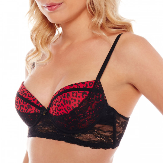 Bustier push-up noir/rouge Midnight - vue 1
