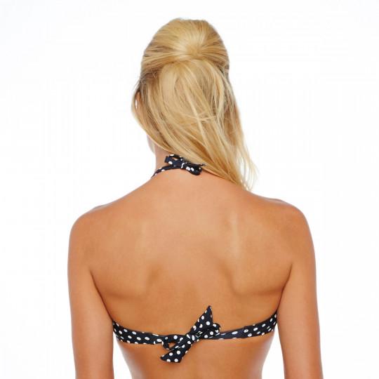 Haut de maillot bandeau noir à pois blanc Croisette by Brigitte Bardot