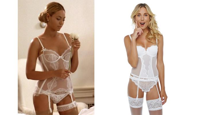 Guepiêre blanche Beyoncé et IN LOVE