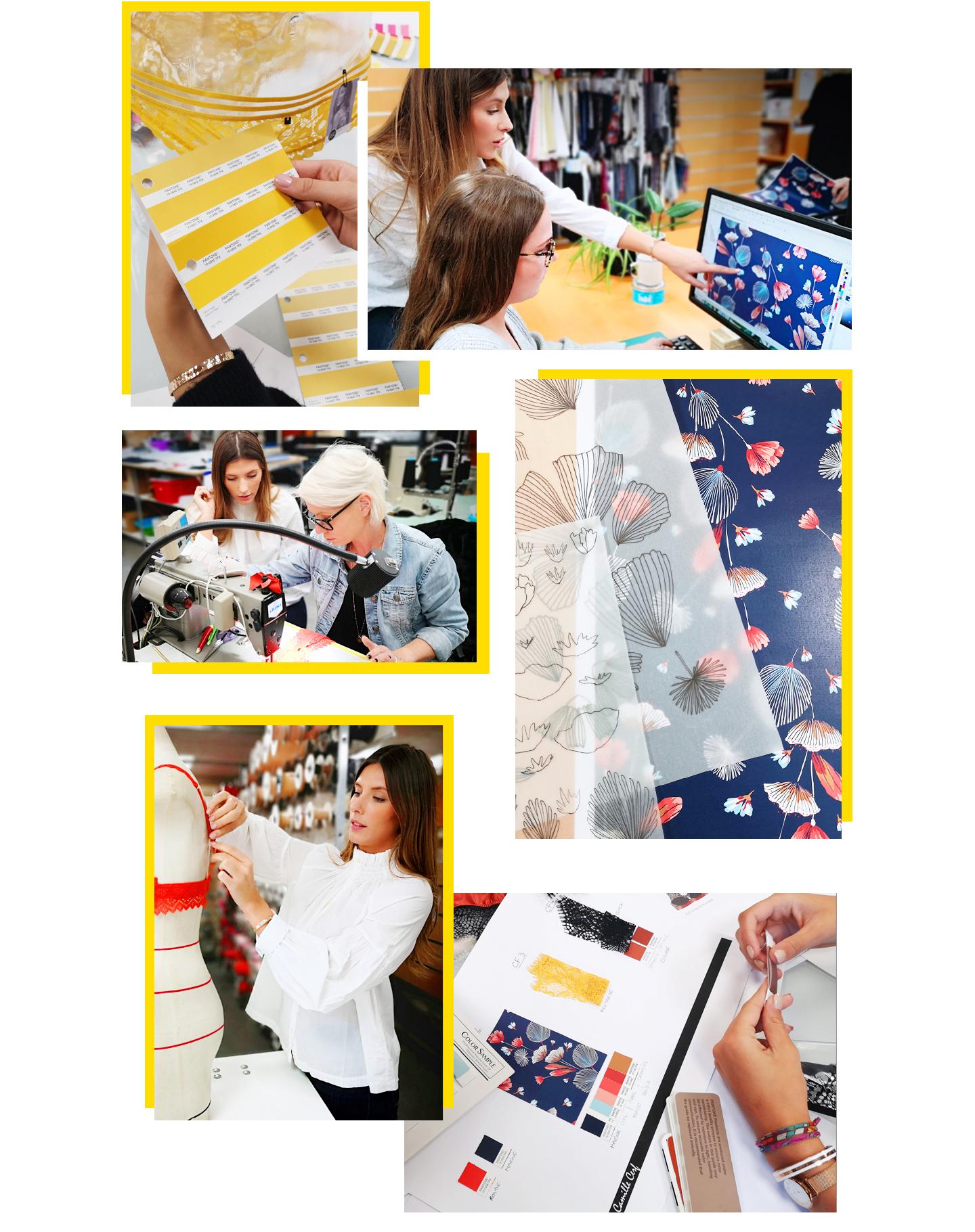 Participation active de Camille Cerf à la création de sa collection lingerie avec l'équipe Pomm'Poire