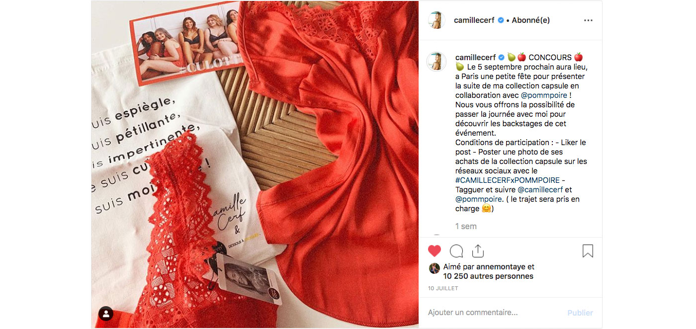 Lingerie - Jeu concours Camille Cerf