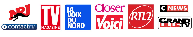 NRJ, Contact FM, TV magazine, La Voix Du Nord, Close, Voici, RTL2, CNews, GrandLille.tv...
