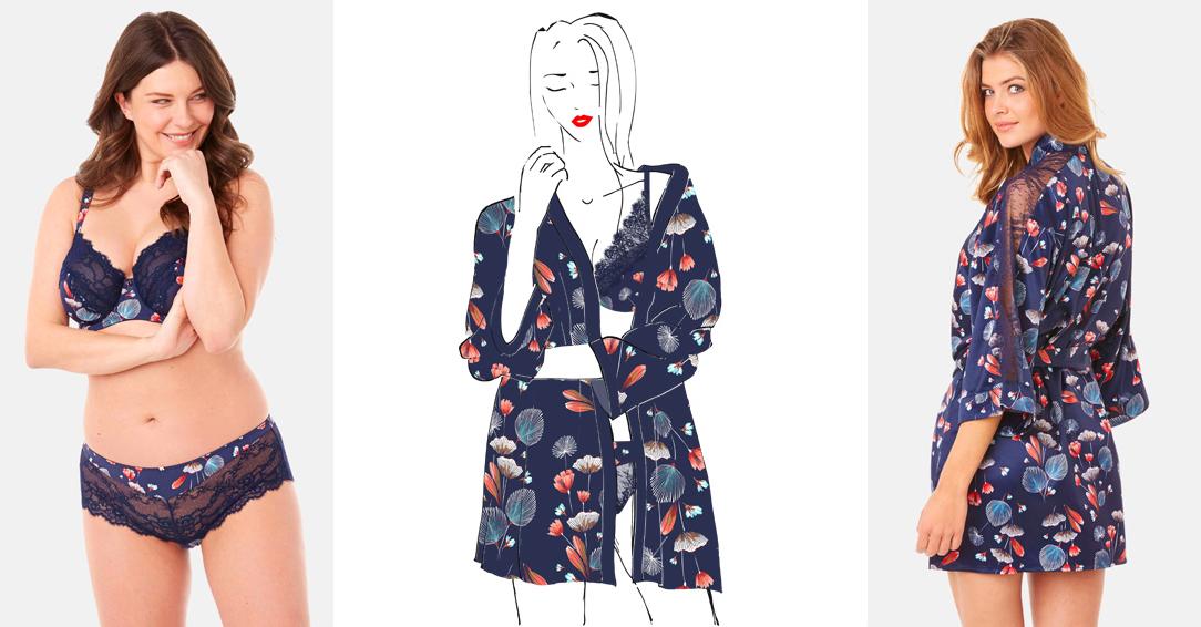 Soutien-gorge à armatures, shorty et kimono ESPIÈGLE