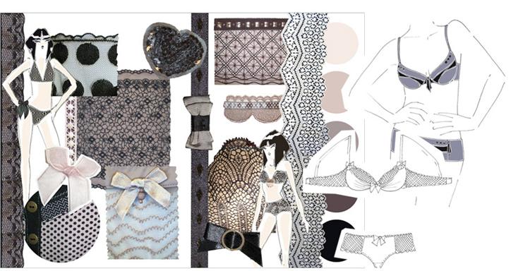Planche inspiration collection lingerie Pomm'Poire