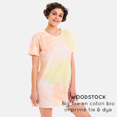 WOODSTOCK - Big tee en coton bio imprimétie & dye