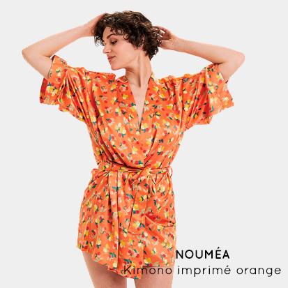 NOUMÉA- Kimono imprimé orange