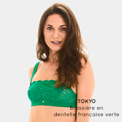 TOKYO - Brassière en dentelle française verte