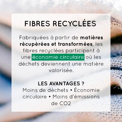 Fabriquées à partir de matières récupérées et transformées, les fibres recyclées participent à une économie circulaire où les déchets deviennent une matière valorisée. Les avantages ? Moins de déchets, économie circulaire, moins d'émissions de CO2.