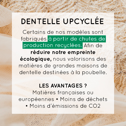 Certains de nos modèles sont fabriqués à partir de chutes de production recyclées. Afin de réduire notre empreinte écologique, nous valorisons des matières de grandes maisons de dentelle destinées à la poubelle. Les avantages ? Matières françaises ou européennes, moins de déchets, moins d'émissions de CO2.
