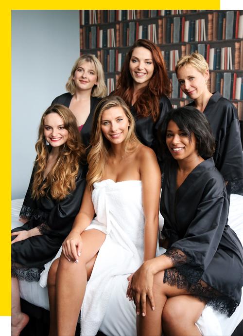 Camille Cerf et les gagnantes du casting #POMMPOMMGIRLS